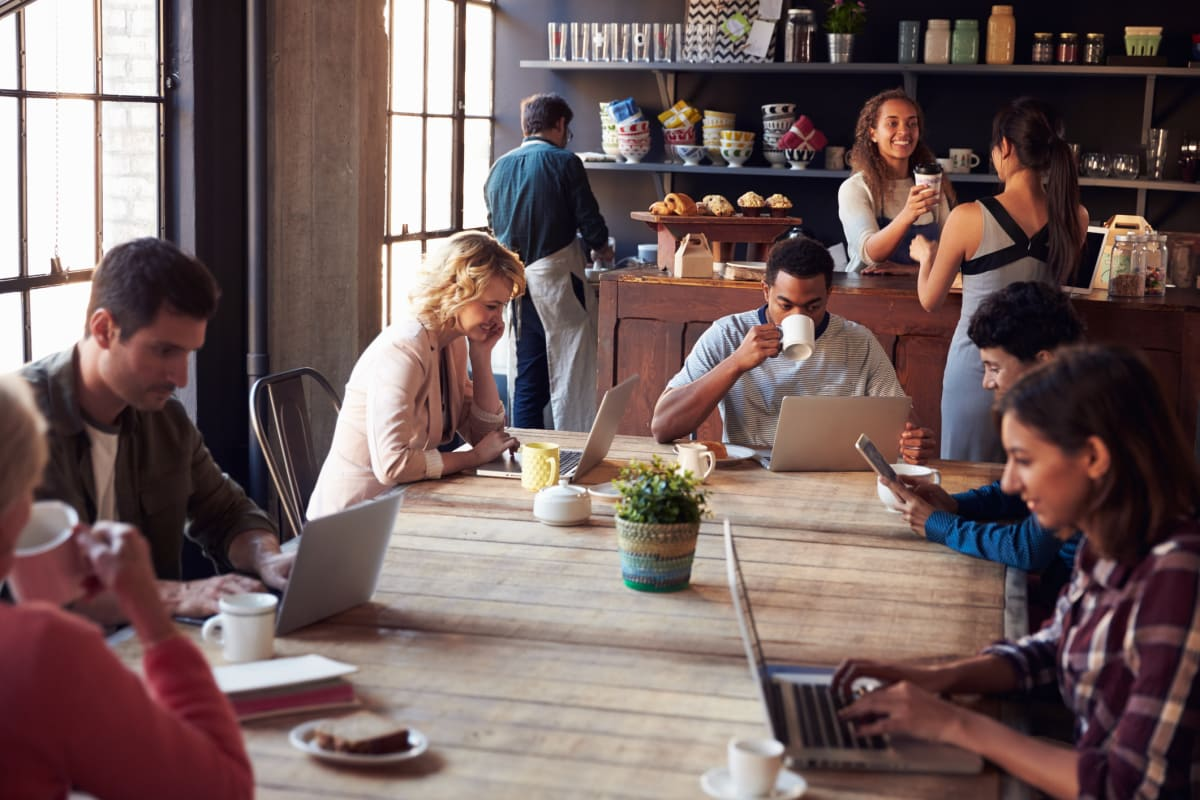 Image result for working in a coffee shop